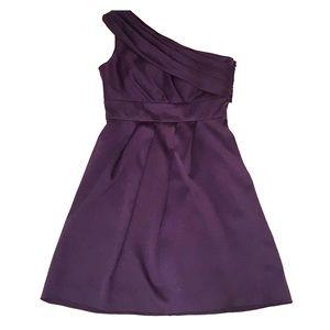 Navy one-shoulder formal dress
